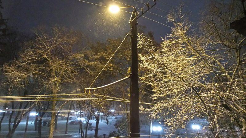 в Чернигове первый снег выпал рано утром.