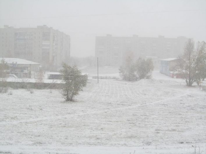 Первый снег в Сумской области замел дома и улицы.
