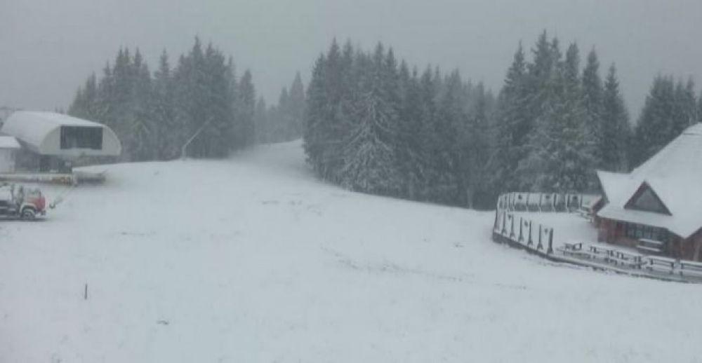В Микуличине снег выпал еще в начале октября. Непогода длилась около 30 минут. Помимо сильного дождя, мокрого снега и шквала в селе тогда прошел град.