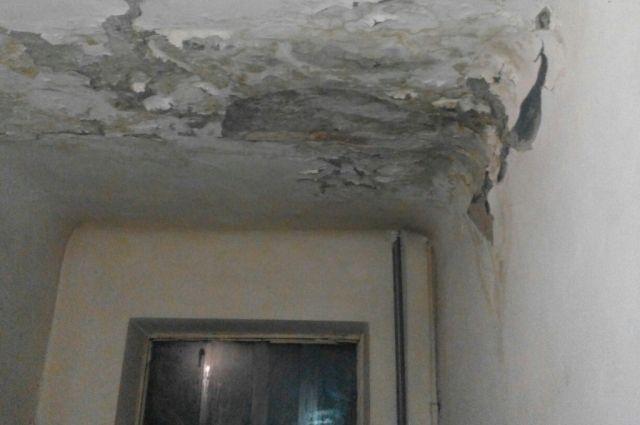 В ухтинском общежитии по ул. 40 лет Коми, д. 7, кусками отваливается штукатурка. А после дождя с потолка здесь бежит вода.