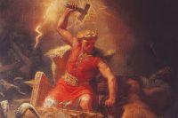 «Тор сражается с гигантами», 1872, Мортен Эскиль Винге. Фрагмент.