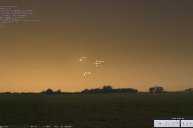 Венера, Юпитер и Луна выстроятся в равносторонний треугольник.