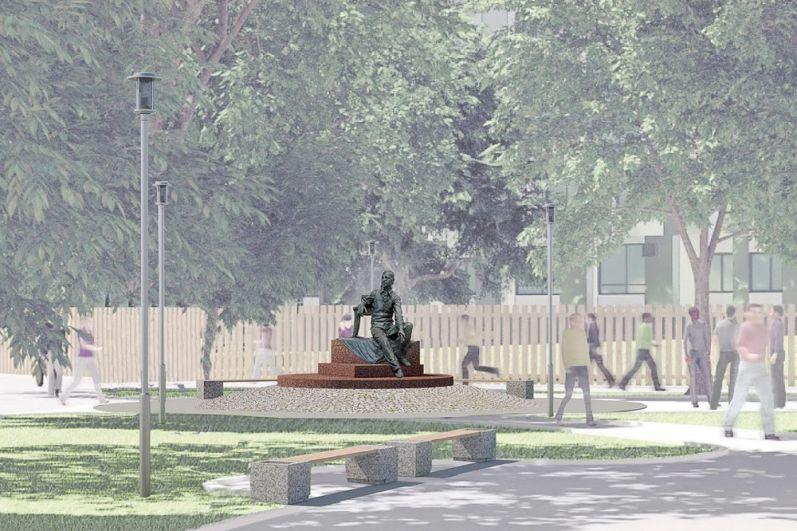 Юрий Злотя монумент расположил в круге, вымощенном брусчаткой.