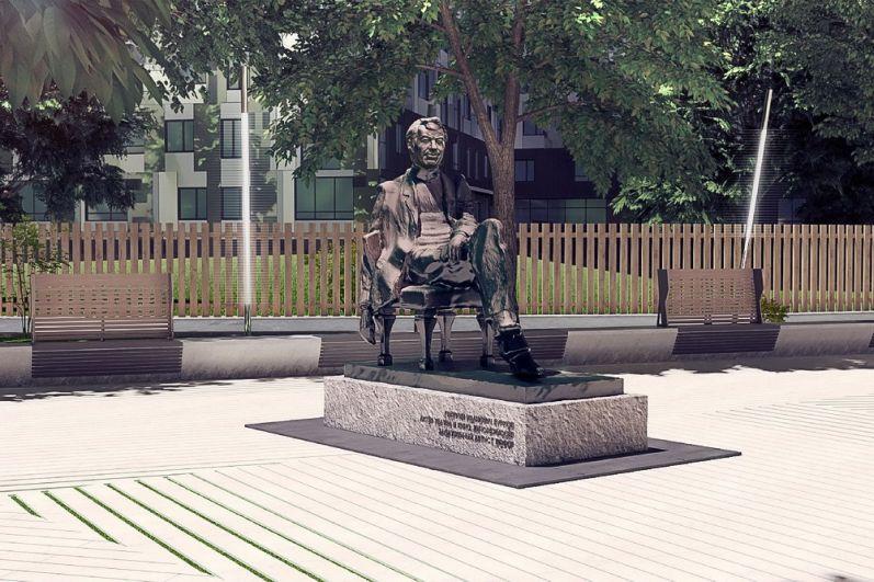 Победитель конкурса Алексей Залазаев предлагает выполнить памятник в классической тёмно-коричневой бронзе, а серый постамент сделать из тёсаного камня.