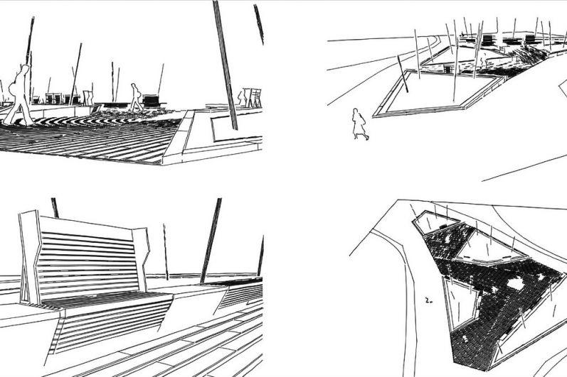 Поисковые наброски сквера и малых архитектурных форм от архитектора Залазаева.