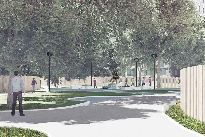 В проекте Михаила Соломатина около монумента должны находиться уличные фонари и стеклофибробетонные скамейки с деревянными настилами.