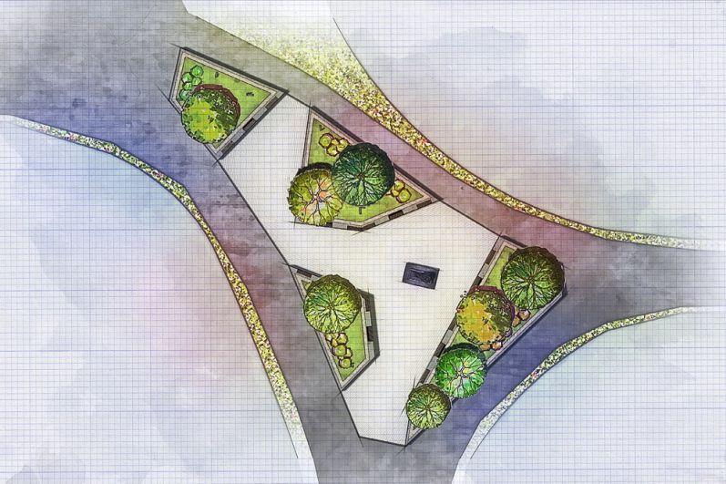 План сквера с памятником известному актёру в аллее парка ЖК «Гулливер».