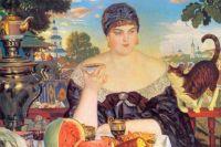 «Купчиха за чаем». Б.М. Кустодиев, 1918 г. (фрагмент)