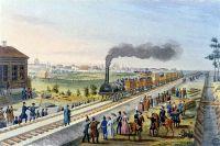 Царскосельская железная дорога. Раскрашенная литография. 1837
