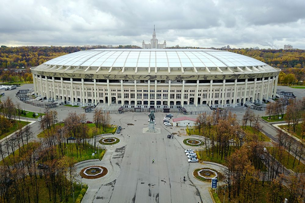 Общий вид на обновлённый стадион «Лужники» с воздуха.