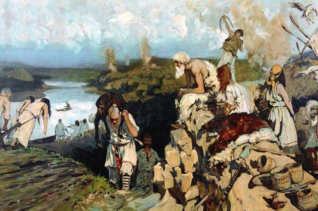 Древние славяне. Худ. С. В. Иванов, 1909 г.