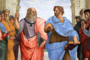Платон и Аристотель. Фрагмент фрески «Афинская школа» кисти Рафаэля Санти.