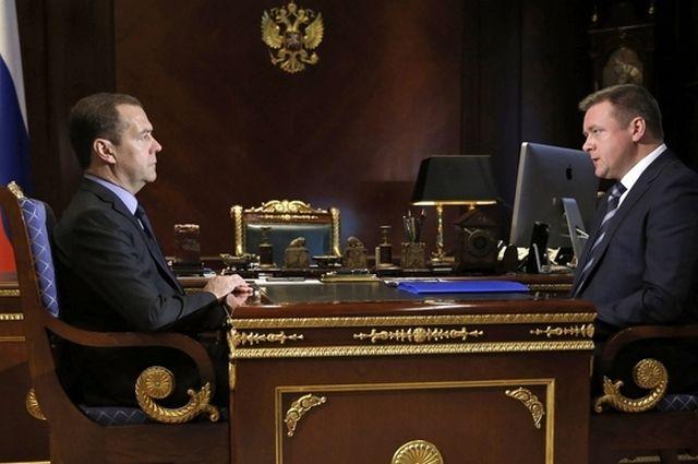 Встреча Дмитрия Медведева и главы Рязанского региона Николая Любимова.