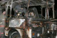 Автобус порлностью выгорел.