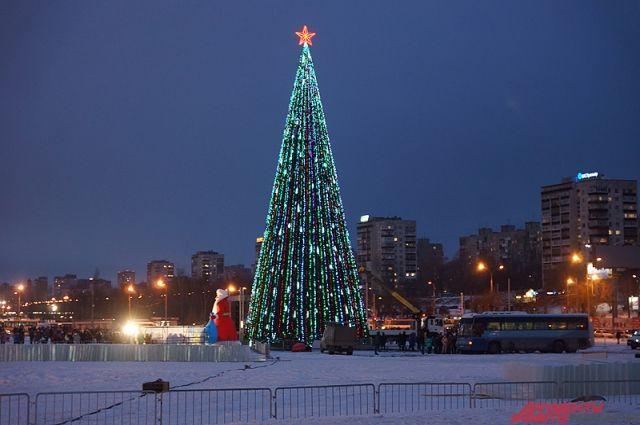 Напермской эспланаде началась установка новогодней елки