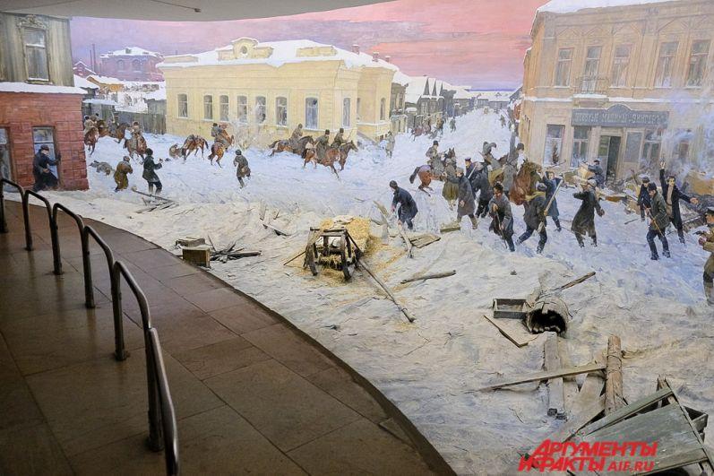В музее-диораме находится живописное полотно, на котором изображено вооружённое столкновение 13 декабря 1905 года рабочих завода и казаков в Мотовилихе.  Эти события стали частью общероссийских волнений. В центре полотна располагается самая большая баррикада, которая была на пересечении улиц Большая и Камская, а ныне – 1905 года и Лифанова.