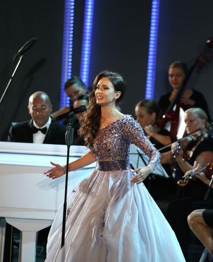 Аида Гарифуллина с Игорем Крутым на конкурсе «Новая волна» в Юрмале в 2013 году.