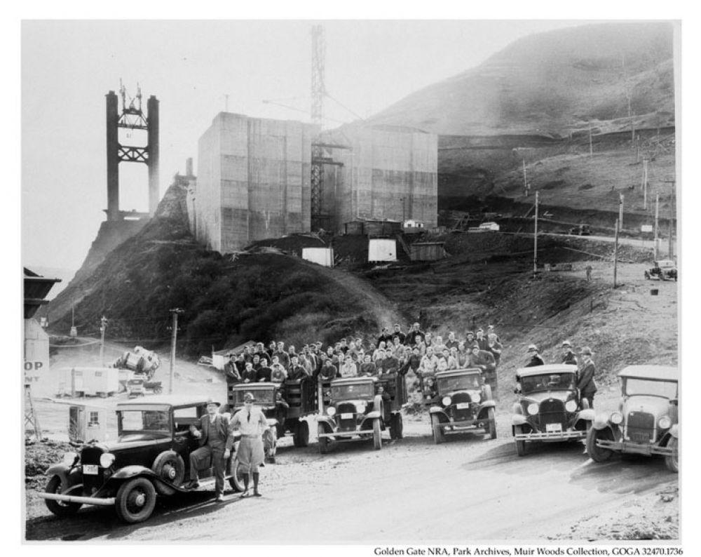 Форт Бейкер, расположенный на границе города Саусалито в округе Марин, непосредственно перед мостом «Золотые ворота». 1930-е годы.