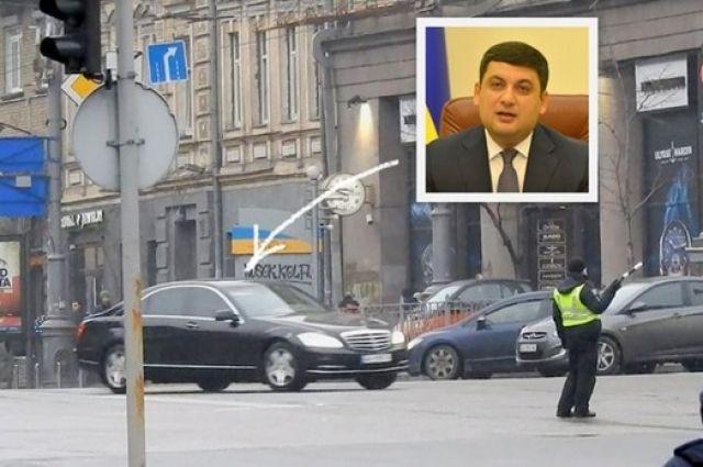 Кортеж Гройсмана в центре Киева нарушил ПДД