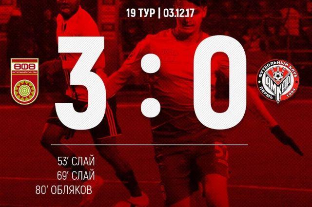 «Уфа» разгромила «Амкар» в19 туре РФПЛ