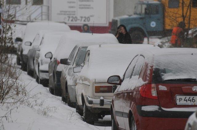 Пробки в столице увеличились надва балла из-за снегопада