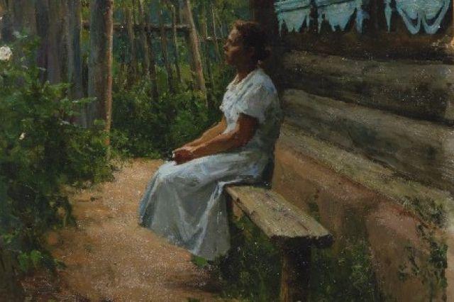 Алексей Грицай представлен на выставке лирическими произведениями. как картина «Летним вечером».