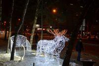Светящиеся сани с оленями в Барнауле