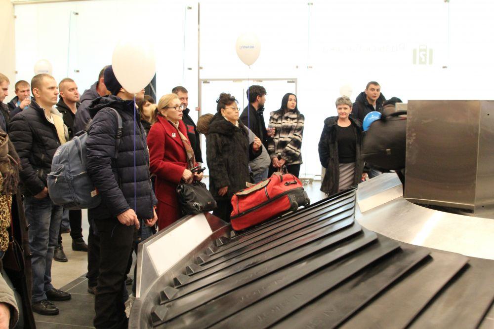 Приём багажа первого рейса.