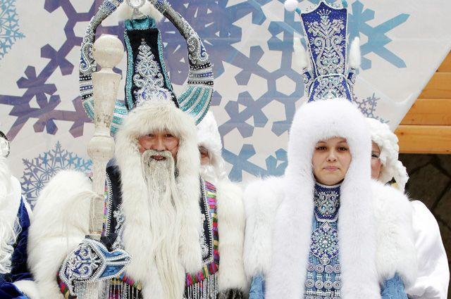 Якутский Дед Мороз Чысхаан и его спутница Хаарчаана.