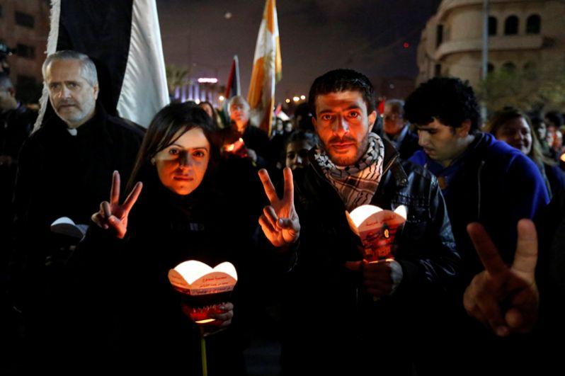 Марш в знак протеста против признания США Иерусалима столицей Израиля, Амман, Иордания.