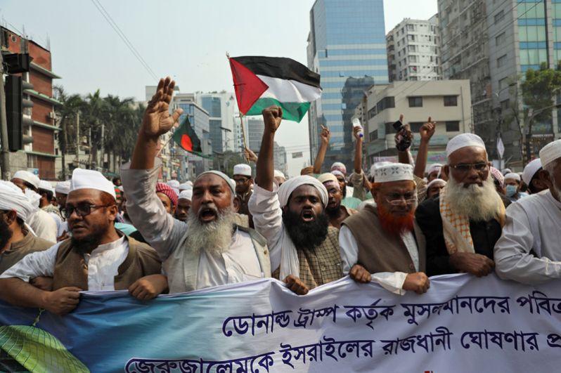 Протесты против решения Дональда Трампа по Иерусалиму, Дакка, Бангладеш.