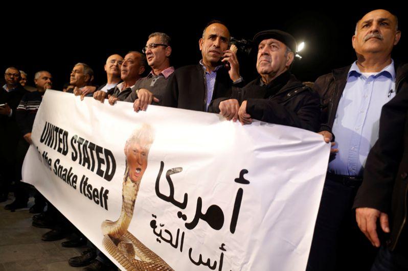 Демонстрация против решения Дональда Трампа по Иерусалиму в Тель-Авиве, Израиль.