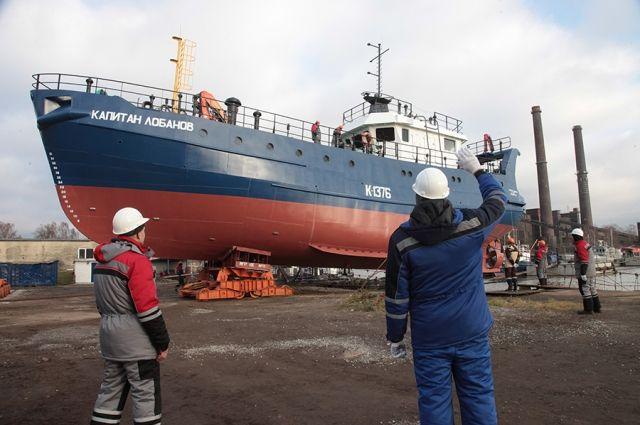 В Светлом спустили на воду рыбоналивное судно «Капитан Лобанов».