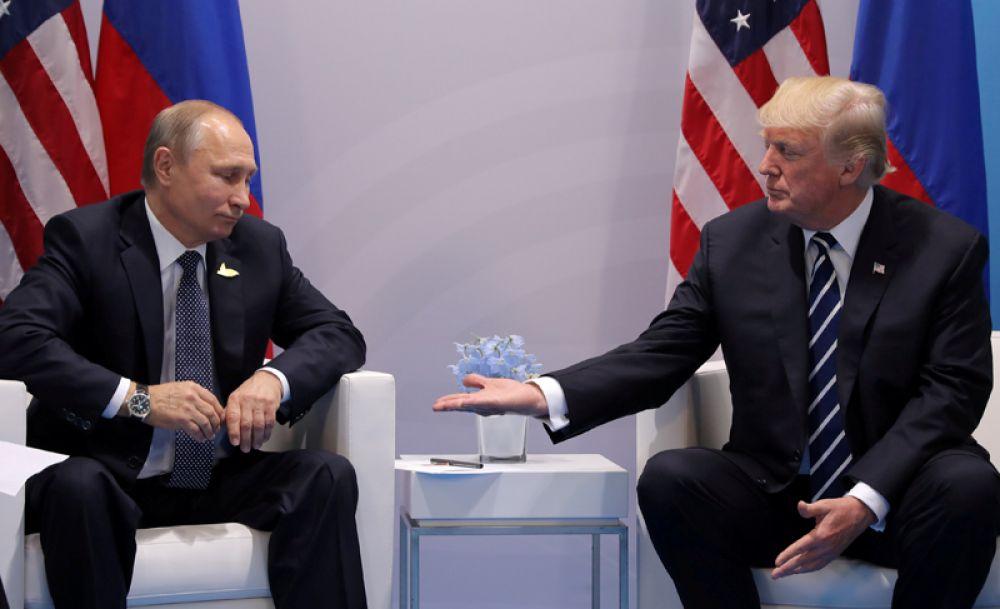 Встреча президента США Дональд Трампа и российского лидера Владимира Путина на саммите G20 в Гамбурге, Германия. 7 июля 2017 года.