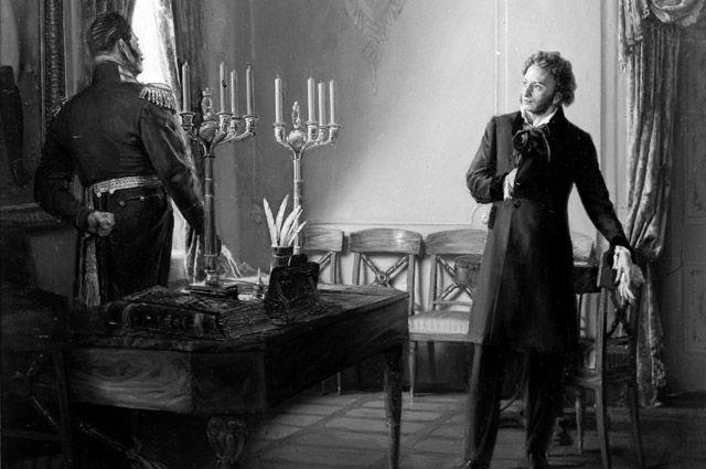 Картина художника Александра Китаева «Пушкин и Бенкендорф».