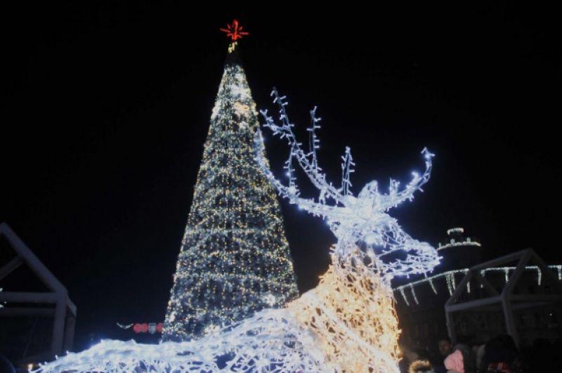 В Чернигове для новогодней елки построили целый северный городок с оленями, белыми медведями и Сантой. Интересно, это все потому, что Чернигов - один из самых северных городов Украины?