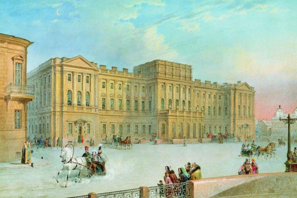 Василий Садовников (1800 - 1879). Вид Мариинского дворца от Синего моста.  1860-е.