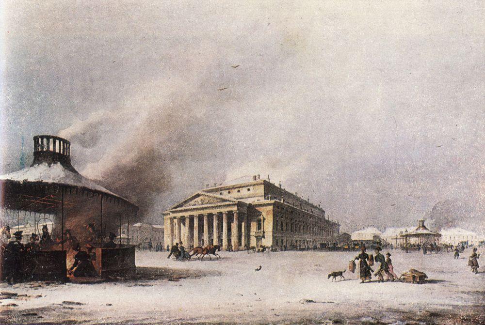 Карл Беггров (1799—1875). Петербургский Большой театр. Общий вид. Раскрашенная литография