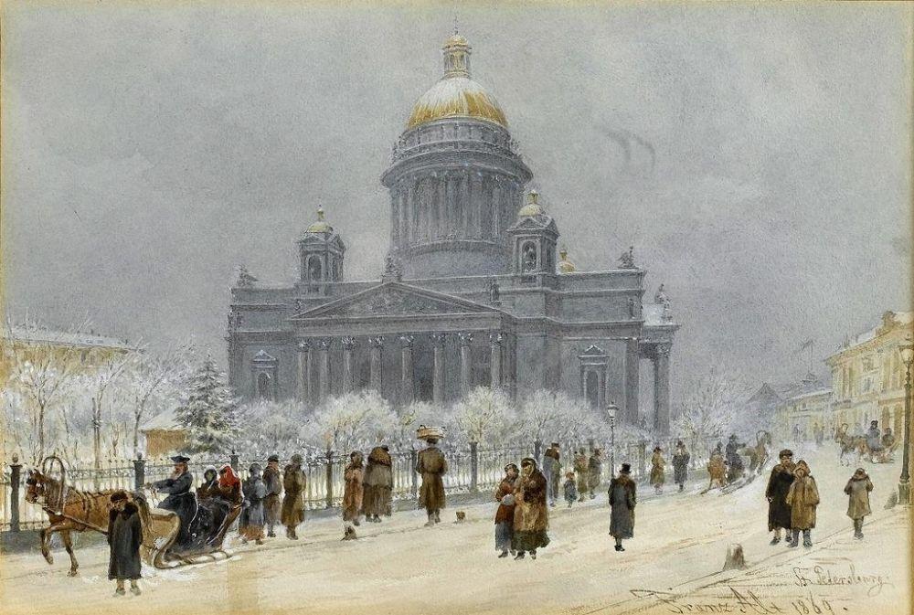Франц Альт (1821-1914). Исаакиевский собор в снежный день