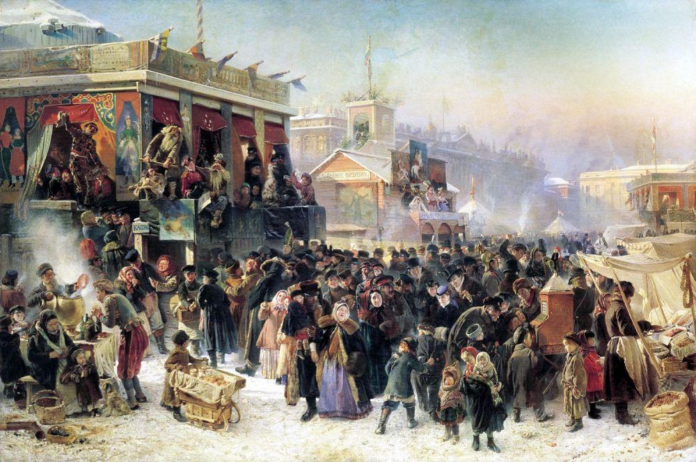 Константин Маковский (1839-1915). Народное гулянье во время масленицы на Адмиралтейской площади в Петербурге (1869)