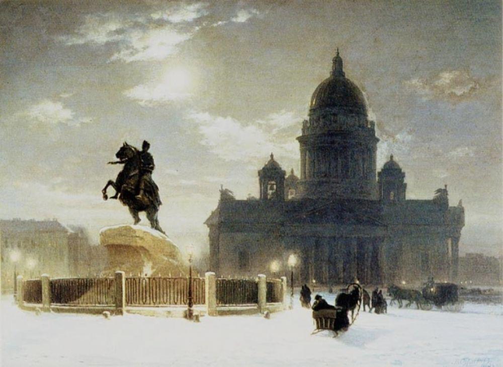 Василий Суриков (1848 - 1916). Вид памятника Петру I на Сенатской площади в Санкт-Петербурге