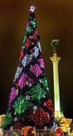Главная новогодняя елка Украины на Майдане в Киеве, встреча 2008-го.