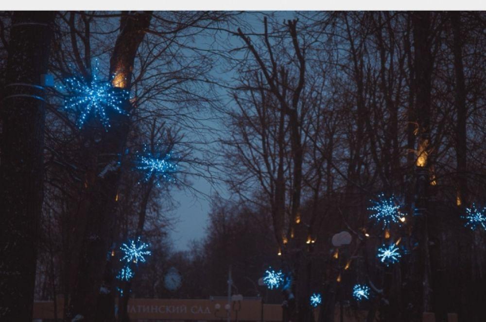 Сквер около гимназии им. Пржевальского украсили синими светящимися звездами.