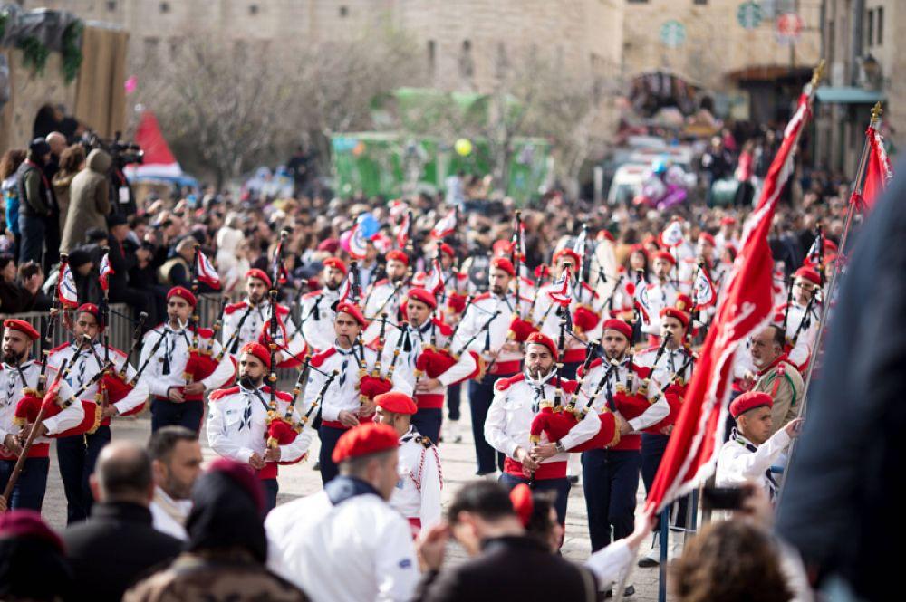 Рождественский парад в Вифлееме.