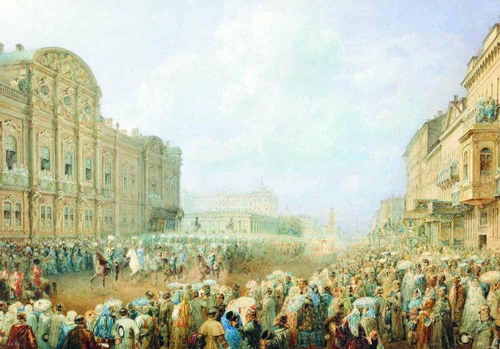 Парад на Невском проспекте (возле дворца Белосельских-Белозерских). 1859, акварель. Государственный Русский музей