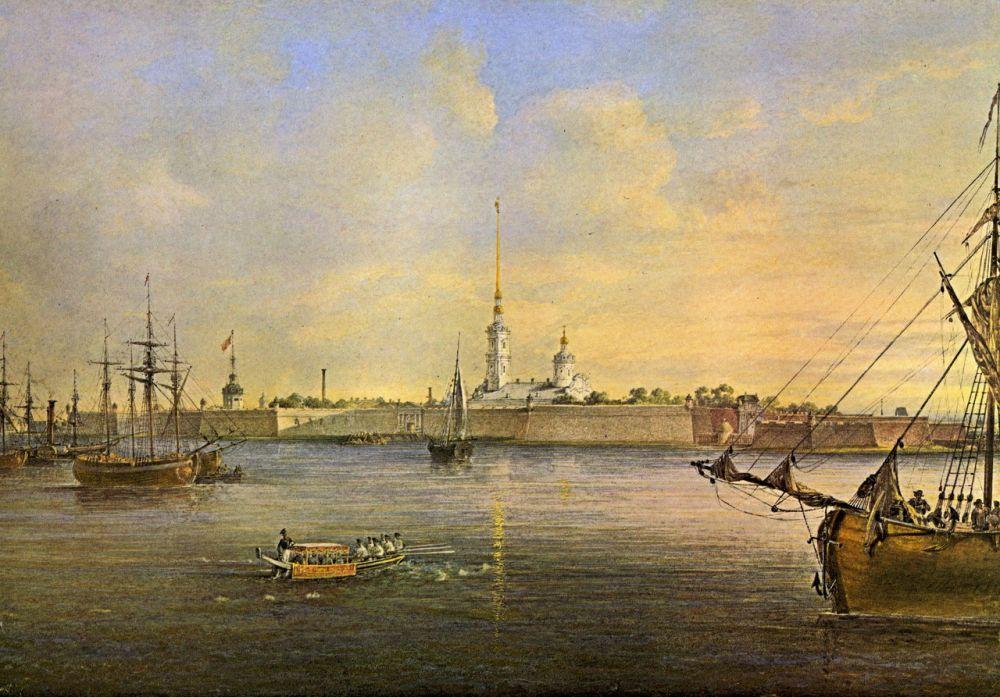 Вид Невы и Петропавловской крепости (акварель, 1847, Государственный Эрмитаж).