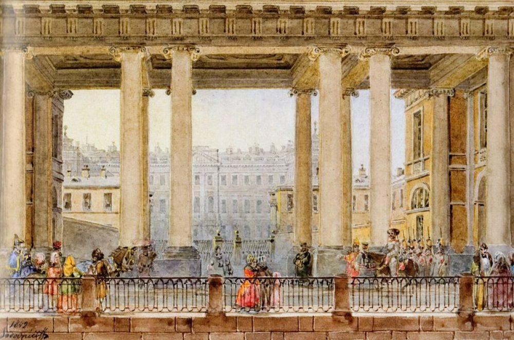 Вид на Аничков дворец со стороны Фонтанки, 1842 год