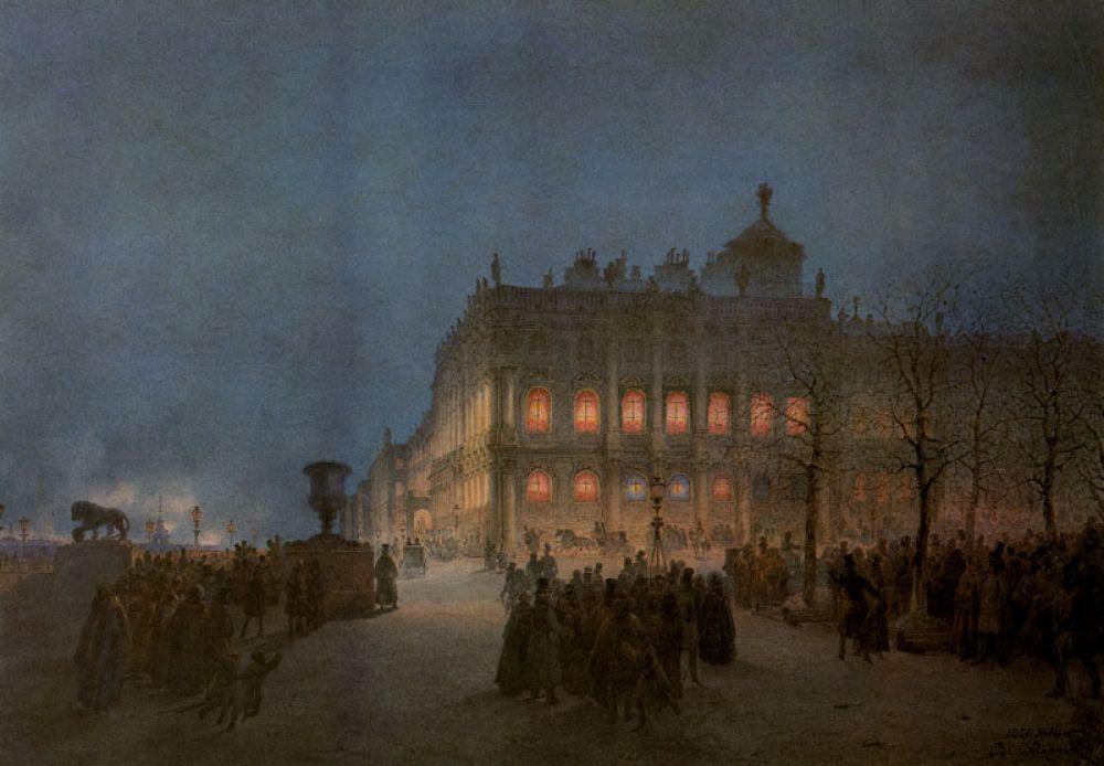 Вид северо-западного ризалита Зимнего дворца в ночное время