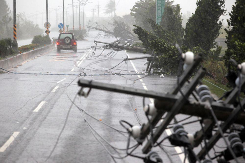 Поваленные деревья и разорванные линии электропередач на дороге в округе Пинтун, Тайвань.