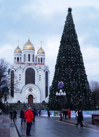 Кафедральный собор Христа Спасителя в Калининграде накануне праздника Рождества Христова.